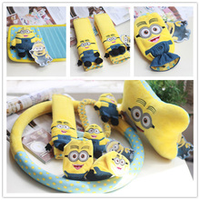 Minions Car Interior Decroration Acessories Short Plush Cartoon Steering Wheel Cover Seat Belt Covers Neck Pillow Set
