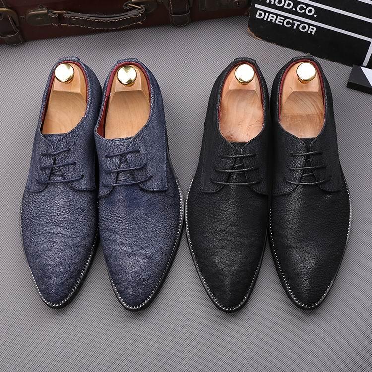 ERRFC Nieuwe Aankomst Mannen Zwarte Jurk Schoenen Puntschoen Leisure PU Lederen Schoenen Man Britse Office Derby Schoen Mannelijke Grootte 38 43 blauw-in Casual schoenen voor Mannen van Schoenen op  Groep 3