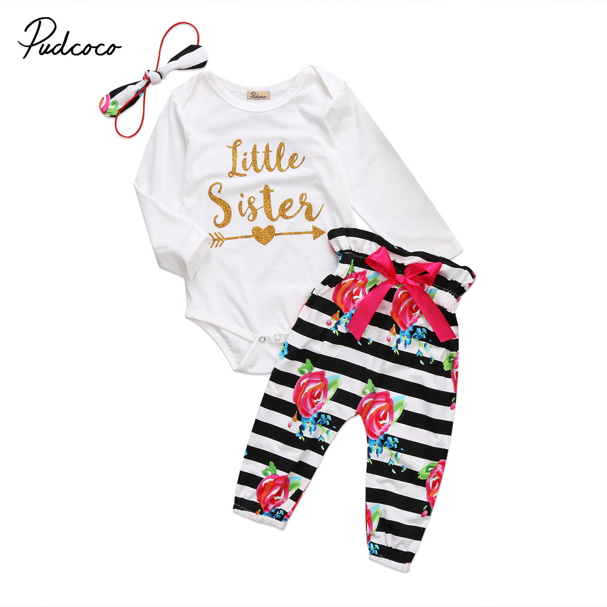Little sister baby girl clothing 3pcs set newborn baby girl clothes letter romper bodysuit striped floral pants autumn clothes