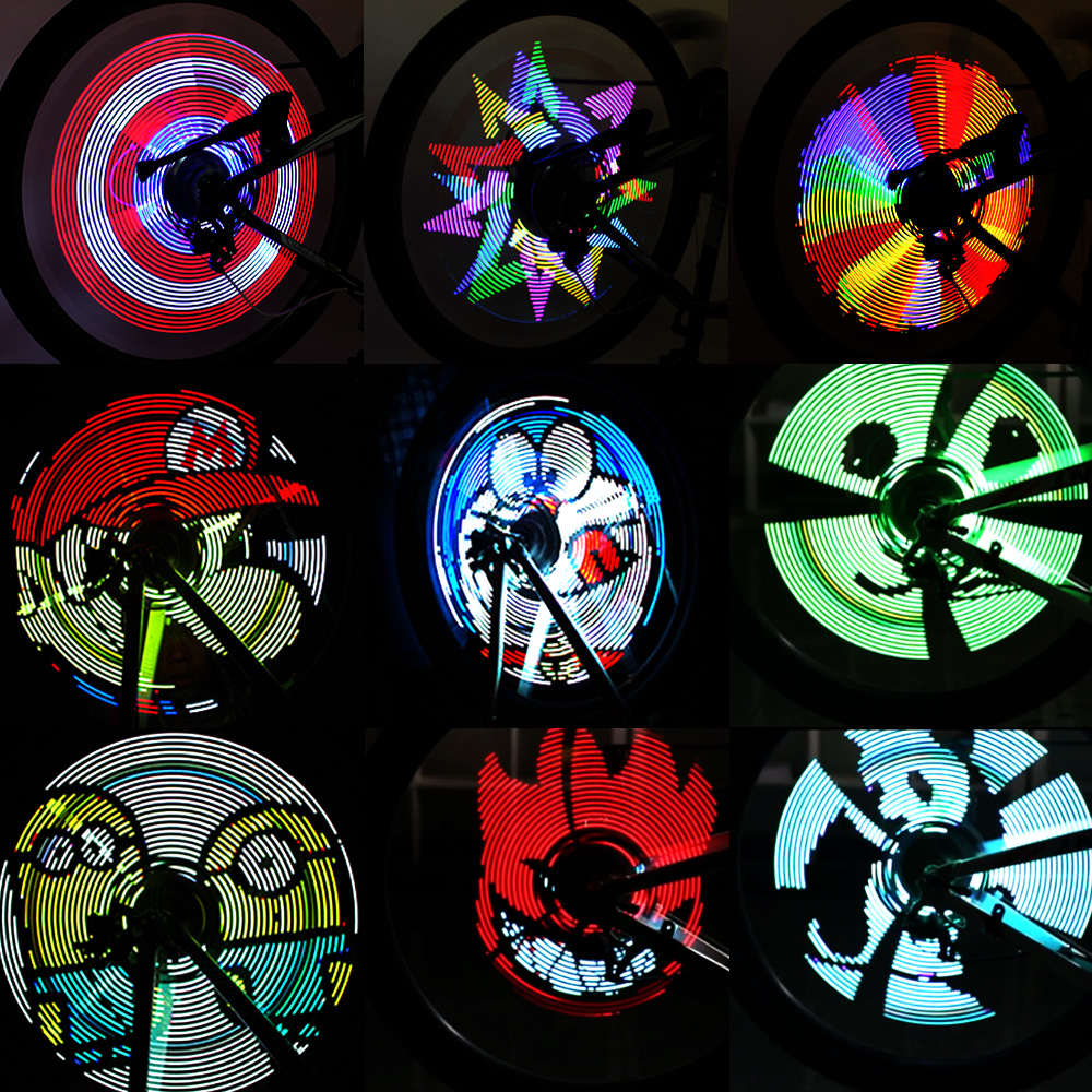 192pcs LED Bicycle Lights Bike Wheel Spokes Light Colorful Programmable Motor Tire Luces Lamp Image For