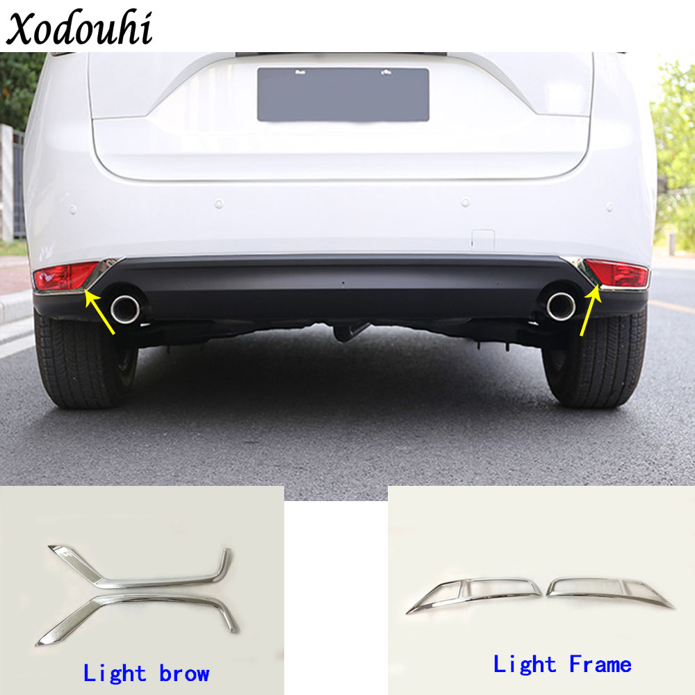Car body ABS Chrome cover trim back tail rear fog light lamp frame stick ABS 2 For Mazda CX-5 CX5 2nd Gen 2017 2018 fiio clear back cover for x3 2nd gen c03