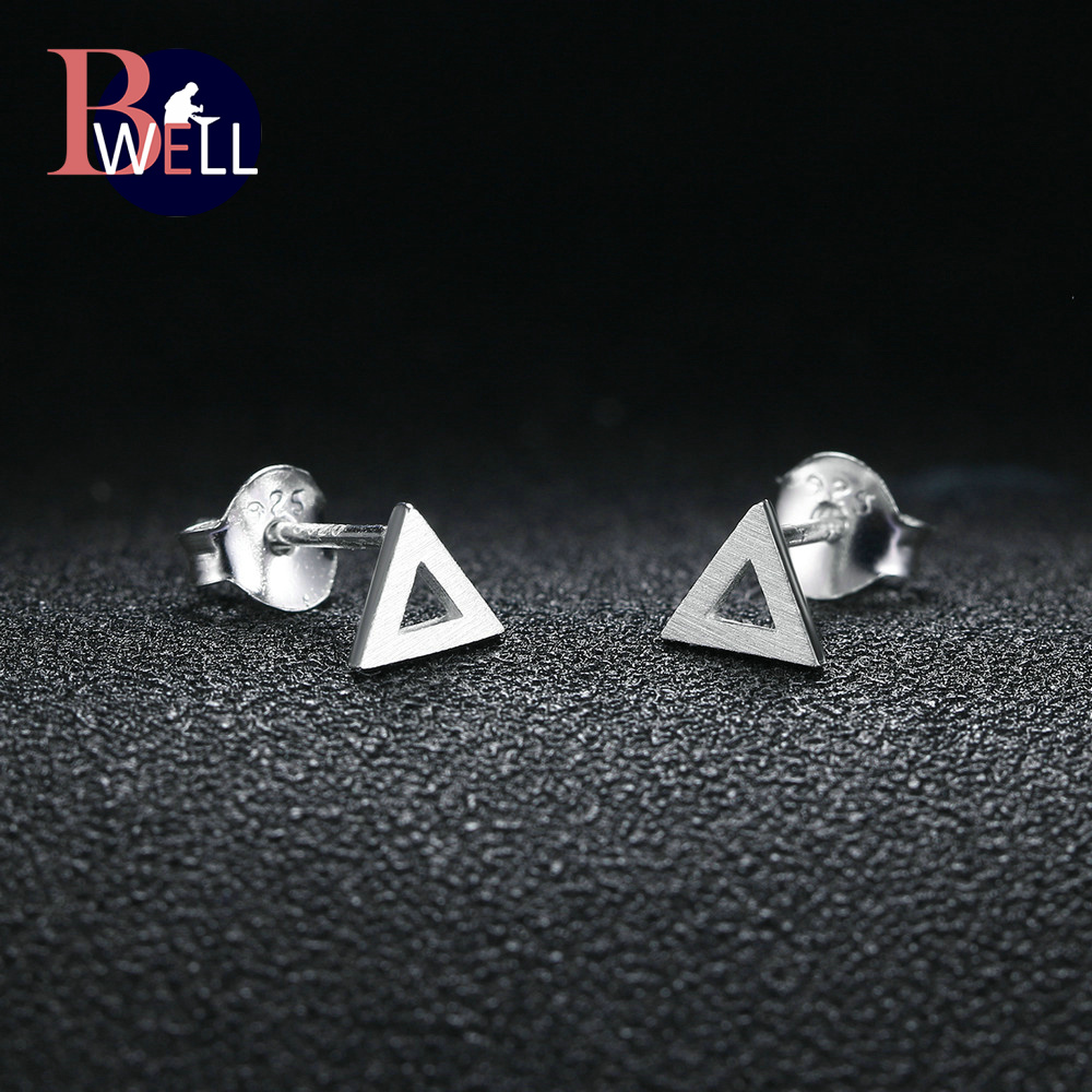 Bwell Trendy Wiredrawing 100% 925 Sterling Silver Hollow Triangle Shape Stud Earring Fine Jewelry For Women As Gift BWEY220
