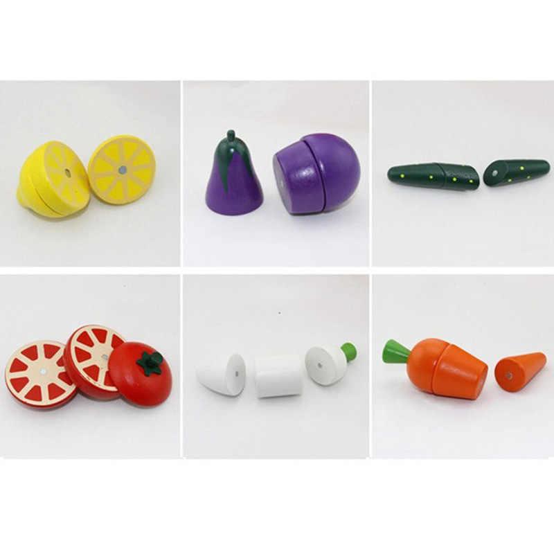 Детские деревянные кухонные игрушки Монтессори разделочная еда фрукты и овощи Игровой Набор Обучающие ролевые игры игрушки для детей Подарки
