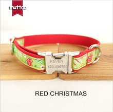 Red CHRISTMAS Dog Collar Engraved Customized Puppy IDTag AntiLost Personalized Nameplate Collars For Small Large pet Dogs