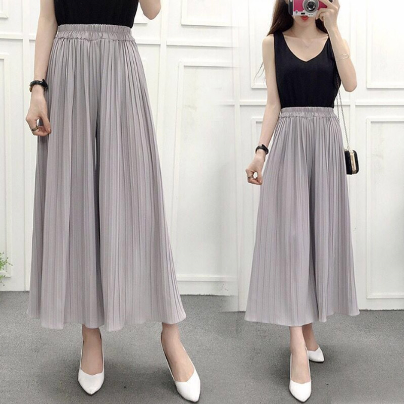 Women Chiffon Loose   Pants   High Waist Ruffled Hem Thin Pleated Trumpet Casual Trousers IK88