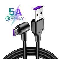 5A USB Tipo C Cavo di 1m 2m 3m Rotonda testa di 90 gradi Tipo di Ricarica Veloce-C cavo Per Xiaomi Huawei P30 P20 Compagno di 20 Pro
