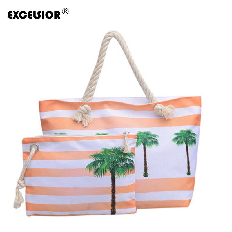 Coconut Tree Print Women's Handbag Beach Tote Large Canvas Composite Bag Over Shoulder Bolsa Feminina G1868