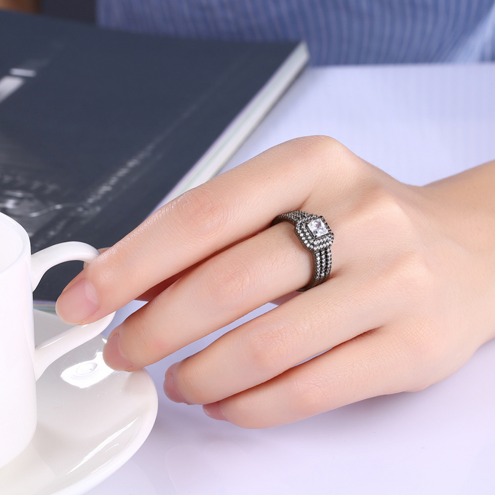 Black Gun Plated Rings For Men / Women 2017 Statement Full Cubic ...