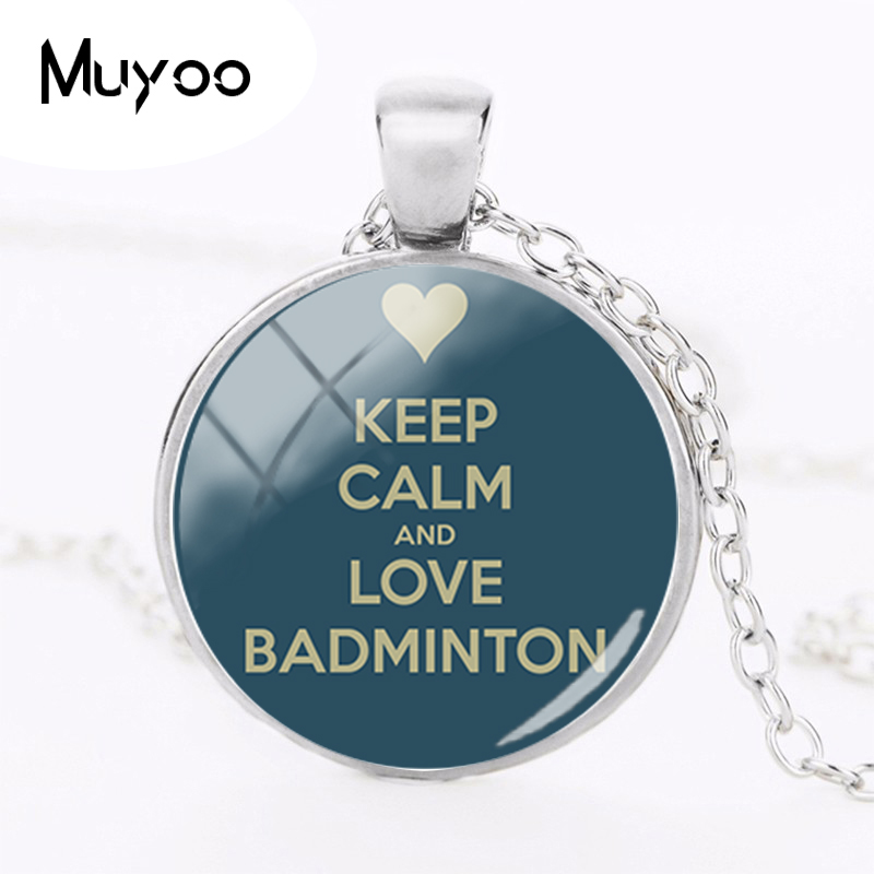 2018 New Keeo Calm And Love Badminton Necklace Silver Round Glass Art Photo Pendant Necklaces Hand Craft Jewelry HZ1