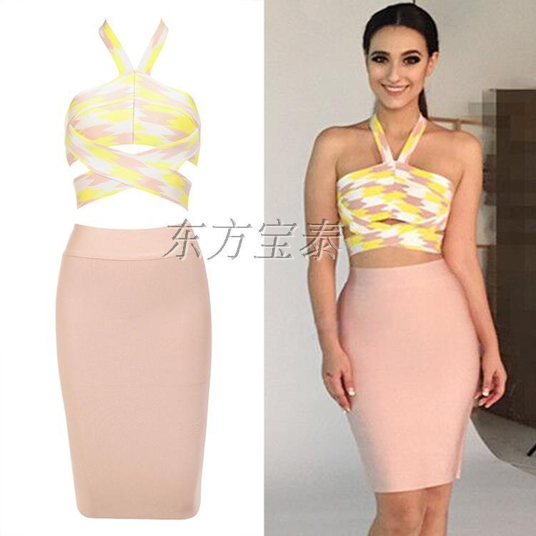 Halterneck Sexy Two Piece Bandage Dress Cheap Discount Online ...