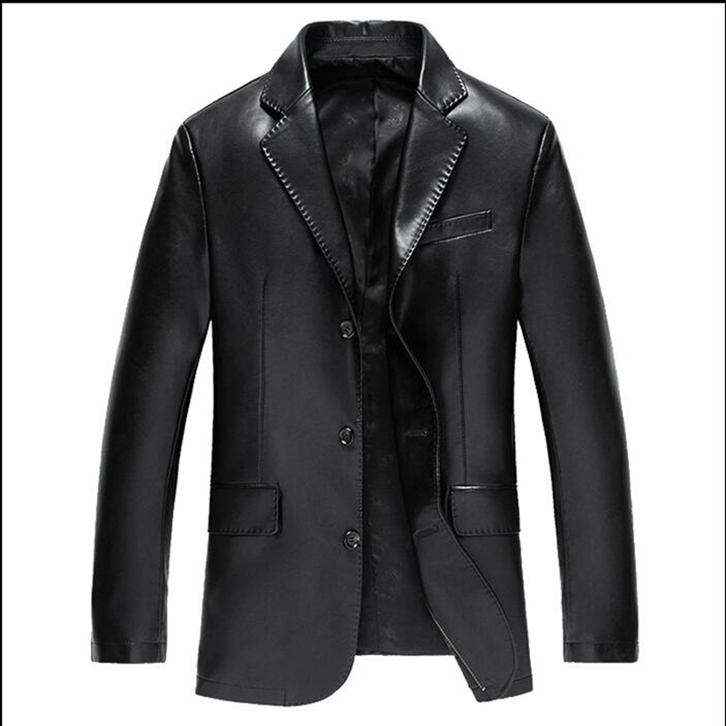 2017 spring and autumn new leather suit jacket male fashion men suit black leather jacket and blue