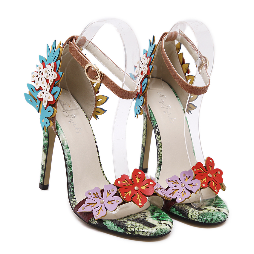 56309139d45 Summer Fancy Sexy Women Super High Heel Flower Sandals Green Snake Grain Leather  Sandals Shoes Open Toe Buckle Colorful Sandals-in High Heels from Shoes on  ...