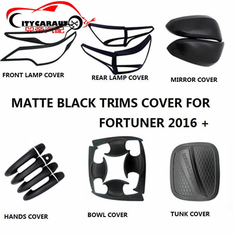 CITYCARAUTO MATTE BLACK TRIMS STICKER COVER HEADLAMP REAR LAMP COVER TUNK BOWL HANDS COVER FIT FOR FORTUNER 2016 2017