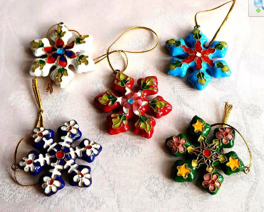 Bulk Christmas Ornament: Wholesale 10pcs Chinese Handmade Cloisonne/Enamel