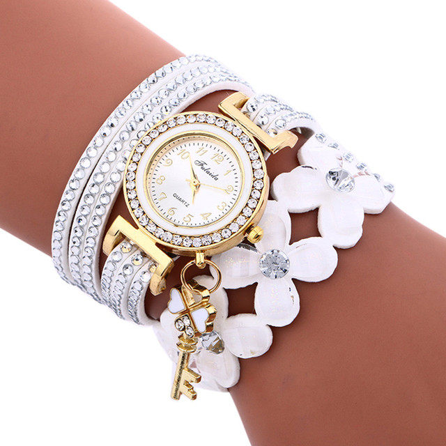 Women Bracelet Watches PU Leather Flower Rhinestone Key Pendant Watch Ladies Dra