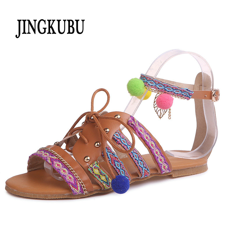 c36afd2b14 US $19.78 45% OFF|JINGKUBU Plus Size 34 43 Ethnic Bohemian Summer Woman  Pompon Sandals Gladiator Roman Strappy Embroidered Shoes Women Flat  Sandal-in ...