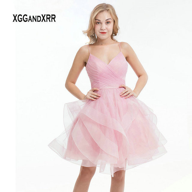Pink Ball Gown Short Homecoming Dress 2019 Sexy Spaghetti Backless Ruffle Tulle Dress mezuniyet elbiseleri