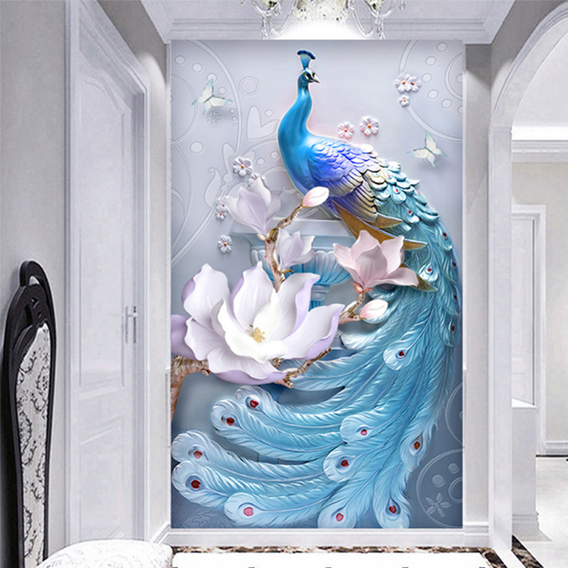 Custom Any Size Mural Wallpaper 3D Stereo Relief Blue Peacock Flowers Wall Painting Living Room Hotel Entrance Backdrop Wall 3 D