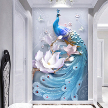 Custom Any Size Mural Wallpaper 3D Stereo Relief Blue Peacock Flowers Wall Painting Living Room Hotel Entrance Backdrop 3 D