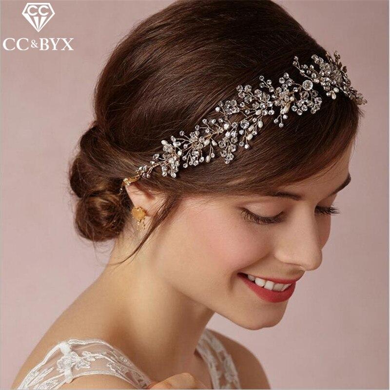 CC Свадебные украшения повязка для девочки со стразами и жемчугом Свадебные Женские аксе ...