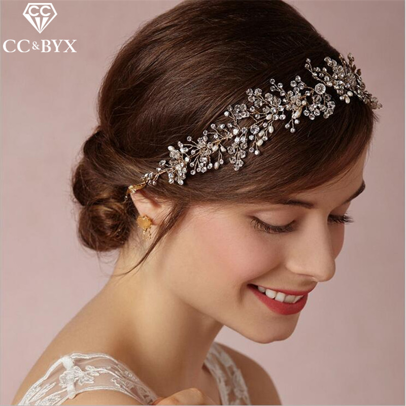 CC Jewelry Wedding Headband For Girl Crystal Pearl Wedding Hair Accessories Bride Crowns Handmade Party Gifts CZ Diamant 0103