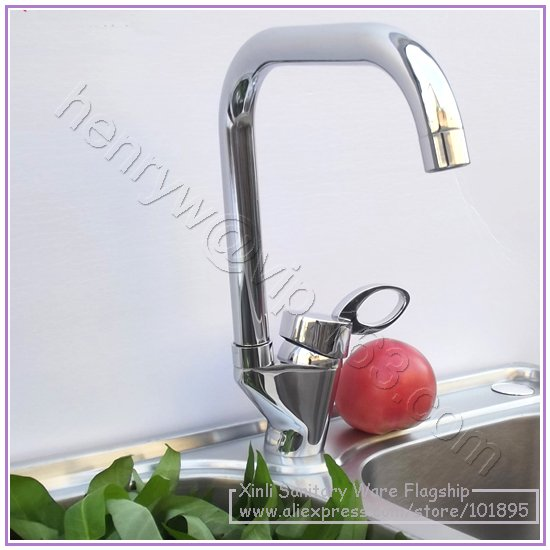 L16537 Luxury Deck Mounted Chrome Color Brass Material Single Lever Kitchen Faucet