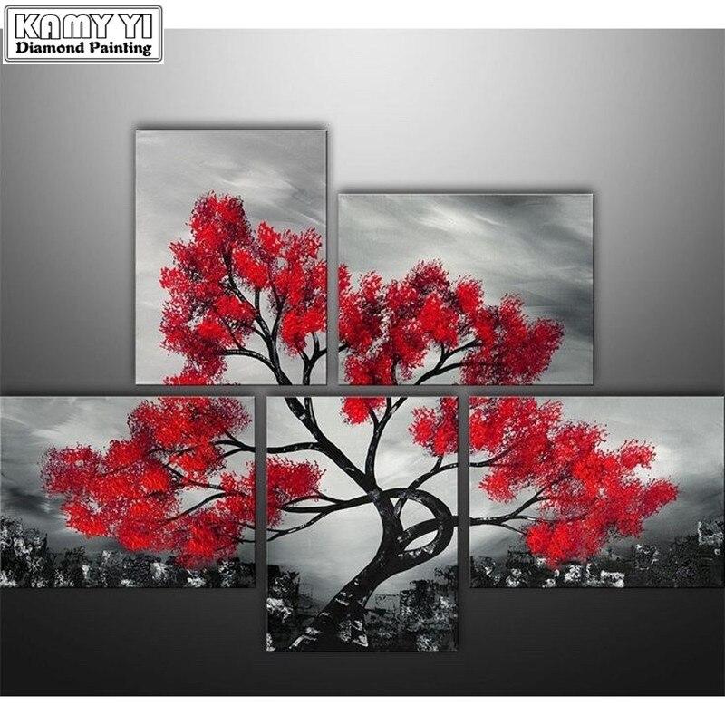 Алмазная вышивка пейзаж дерево 5d diy алмазная живопись мозаика рисунки 5d Стразы искусство алмазные картины живопись Триптих
