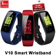 V10 Smart Wristband Fitness pulsera 0,96 OLED Monitor de ritmo cardíaco Smart band actividad rastreador podómetro presión arterial