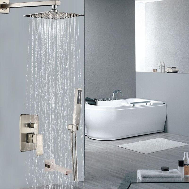 nichel spazzolato montaggio a parete bagno doccia set miscelatore rubinetto bagno doccia rubinetto doccia a