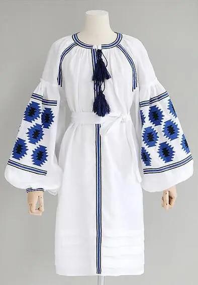 grey Floral Embroidery boho dress autumn vintage lantern long Sleeve knee-length dresses Casual loose linen women dress
