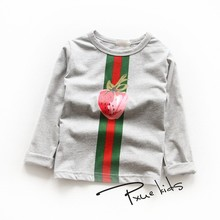 Baby Girl And Boy Clothes T shirt Long Sleeve KidsT-shirt Quality 100% Cotton Children fashion Cartoon Clothes Tops for 90-140cm children clothes long sleeve strawberry patten 100