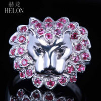 HELON 3D Lion Face 0.8ct Genuine Rubies & Black Diamonds Ring Sterling Silver 925 Engagement Wedding Ring Party Jewelry