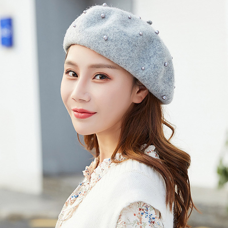 ea79c05f4 US $8.19 |Autumn and winter new pearl Sen literary wool painter hat Korean  fashion wild woolen ladies Bailey hat -in Berets from Apparel Accessories  ...