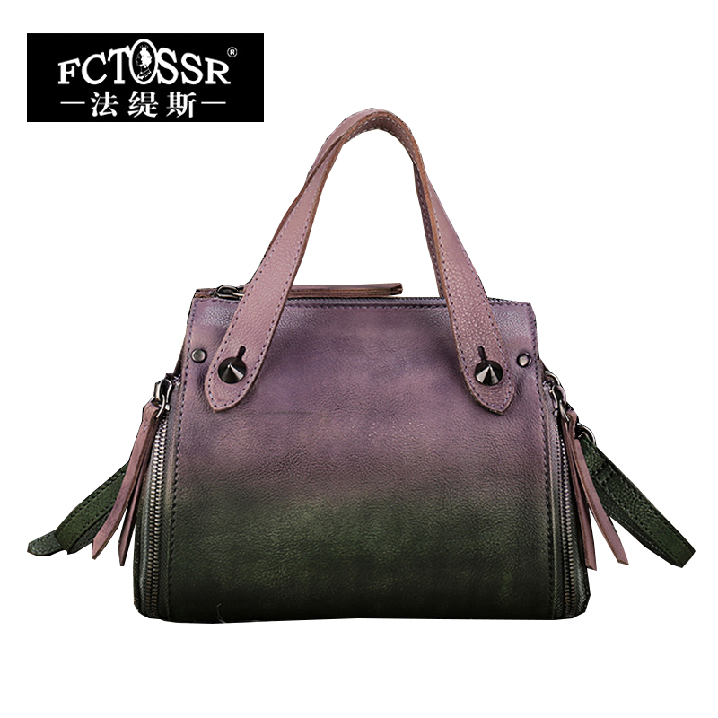 Vintage Genuine Leather Handmade Women Handbag Rivet Cow Leather Top Handle Shoulder Bag High Capacity Female Messenger Bags 2018 vintage genuine leather women handbag handmade cow leather top handle bag mix pink green shoulder messenger bag
