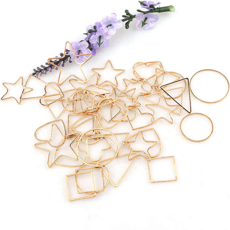 Vintage Mix Shape Antique Rose Gold Metal Hollow Frame Glue Blank Connector Charms Pendant DIY Jewelry Findings Accessories