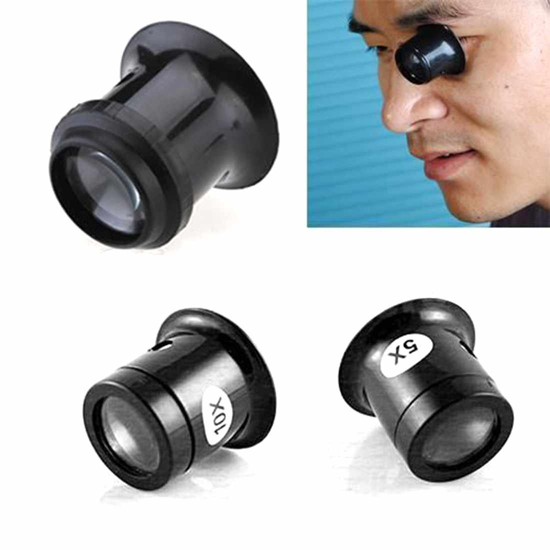 Monocular Magnifying Glass 5X/10X Portable Loupe Lens Jeweler Watch Magnifier Tool Eye Magnifier Len Repair Kit Tool