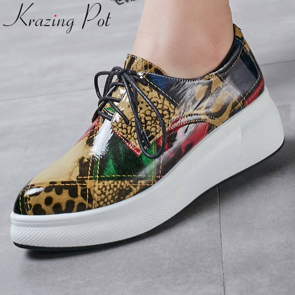 Krazing Pot mixed colors graffiti ethnic thick high bottom increased waterproof sneakers natural leather vulcanized shoes