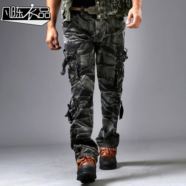 e61c39a360c2 Real Man Fashion Uniform Pants Mens Loose 3D Casual Leisure Camouflage  Cargo Pants Thick Military Style