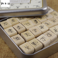 JWHCJ 28 Pcs Set Butterfly Floral Letter Tin Box Wooden Stamp Gift Crafts Handmade Decal Scrapbooking