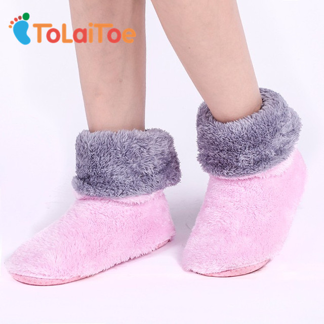 ToLaiToe Free Shipping Home Soft Plush Home Shoes Slippers Coral Fleece Indoor Floor Sock Indoor Slipper Winter Foot Warmer Bes