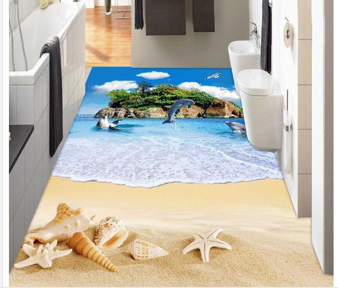Painting Supplies & Wall Treatments 3d Flooring Ocean Island Beach Shell Bathroom 3d Floor 3d Wallpaper Pvc 3d Floor Painting Wallpaper Home Improvement