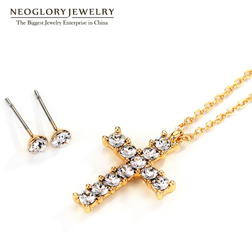 781f4f4b Neoglory boda Cruz collares pendientes conjuntos de joyas para mujeres  nueva FA adornado con ...