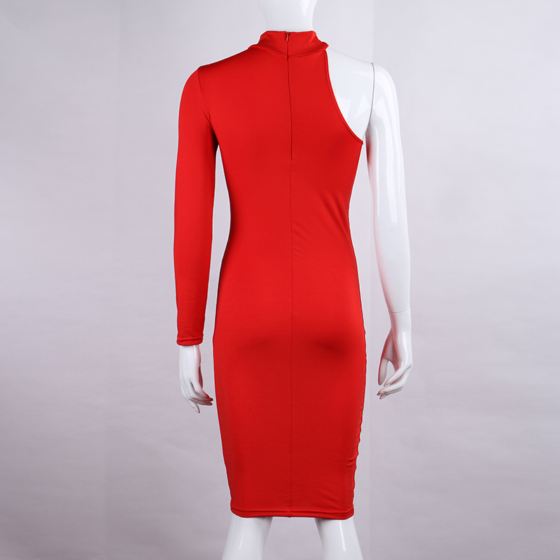 One Shoulder Halter Long Sleeve Women Pencil Dress Sexy Club Bodycon Party Dresses (41)