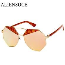 8d5ea79273fc8e New marque designer dames surdimensionné lunettes de soleil femmes octagon  amoureux hippie carré rose or lunettes de soleil uv40.