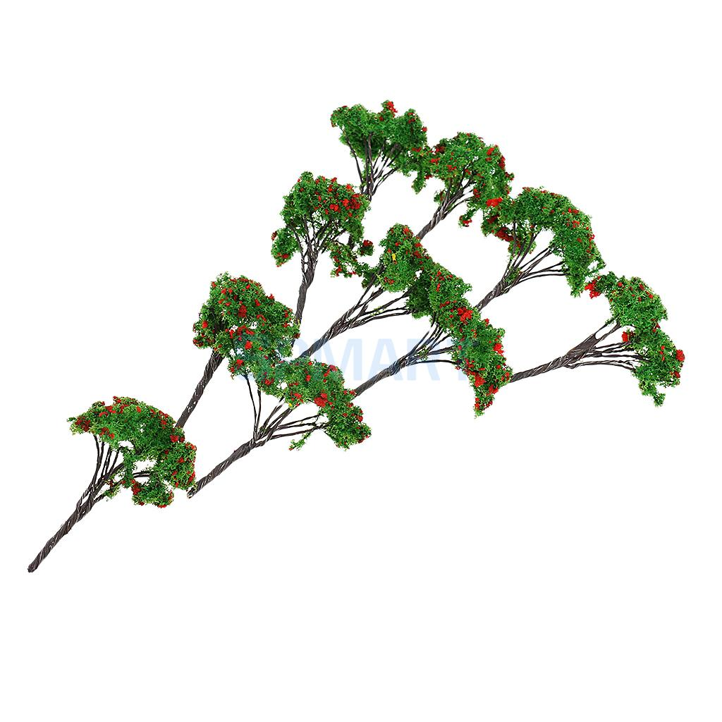 10Pcs Metal Wire Flower Tree Models 6.5cm 1/100 for DIY MiniatureRR Train Railway Scenery