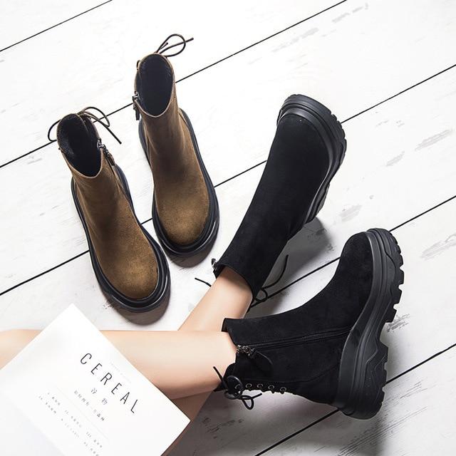SWYIVY مارتن الأحذية امرأة عودة الدانتيل Auutmn الشتاء المخملية الرجعية الثلوج الأحذية منصة الإناث الدافئة الشتاء حذاء كاجوال 2018 التمهيد