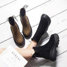 SWYIVY Martin buty kobieta koronka z tyłu Auutmn zima aksamitna Retro śnieg buty platforma kobieta ciepłe buty zimowe na co dzień 2018 Boot
