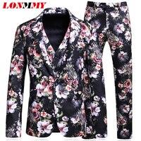 LONMMY свадебные костюмы для Мужская куртка костюм Тонкий цветочный пиджак мужской этап смокинги Блейзер masculino 3 шт./компл. (куртка + брюки + жиле