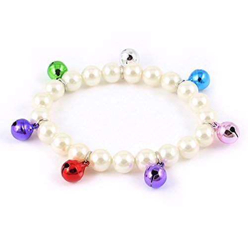 Fashion Bell Detail White Faux Pearl Decor Pet Dog Yorkie Collar Necklace S size ...
