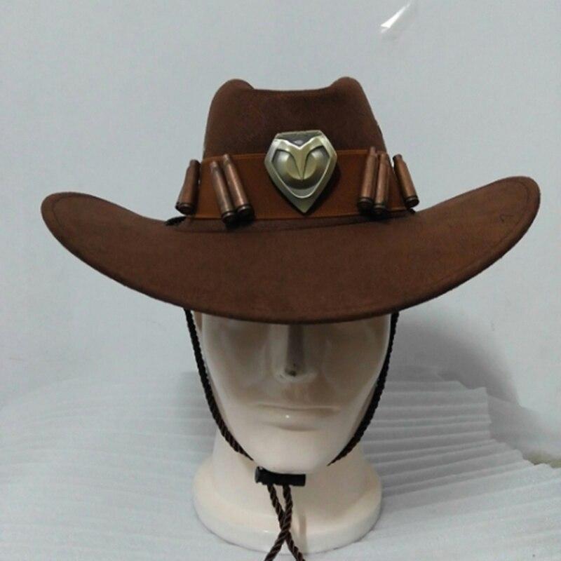 b477c4a46c5c6 Comprar NADA Vigiar Mccree Cos Chapéu de Cowboy Com o Emblema de Cobre Bala  de Metal Artesanato Traje BAMF Fivela Cinto de Couro Baratas Online Preço .